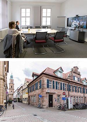 Helmstraße 1, Videokoferenzraum und Außenansicht