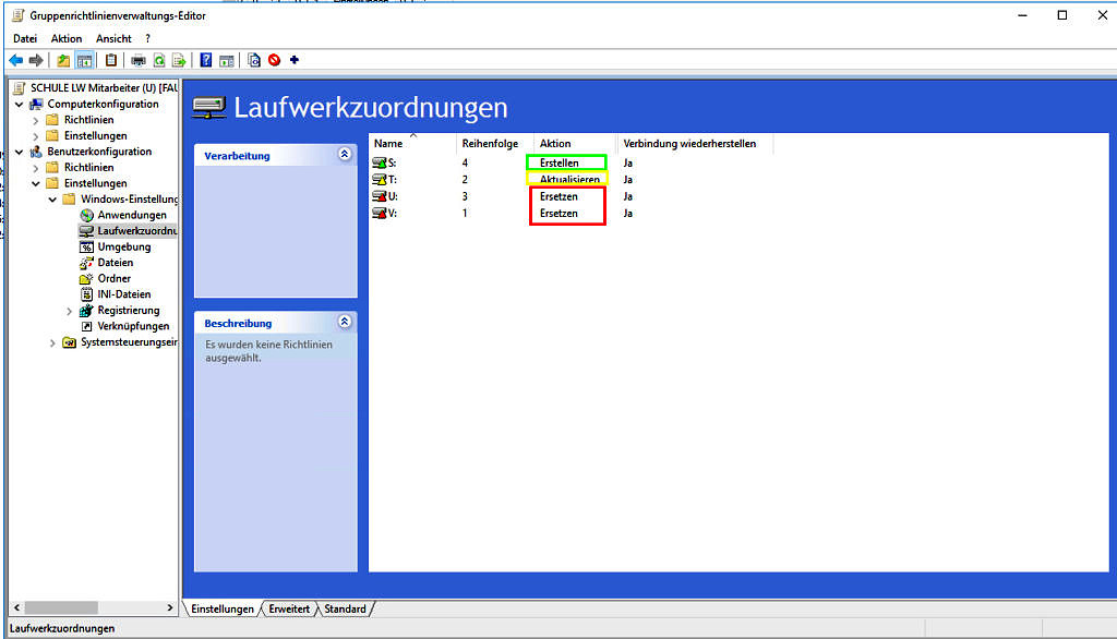 Screenshot: Laufwerkzuordnungen