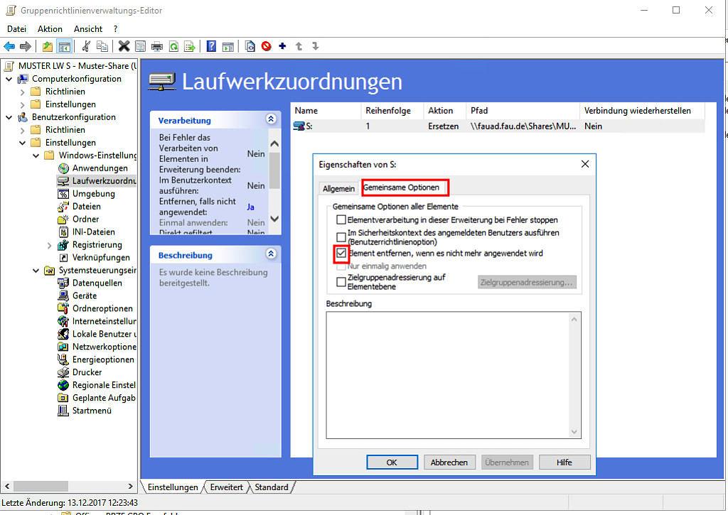 Screenshot: Laufwerkzuordnungen - Gemeinsame Optionen