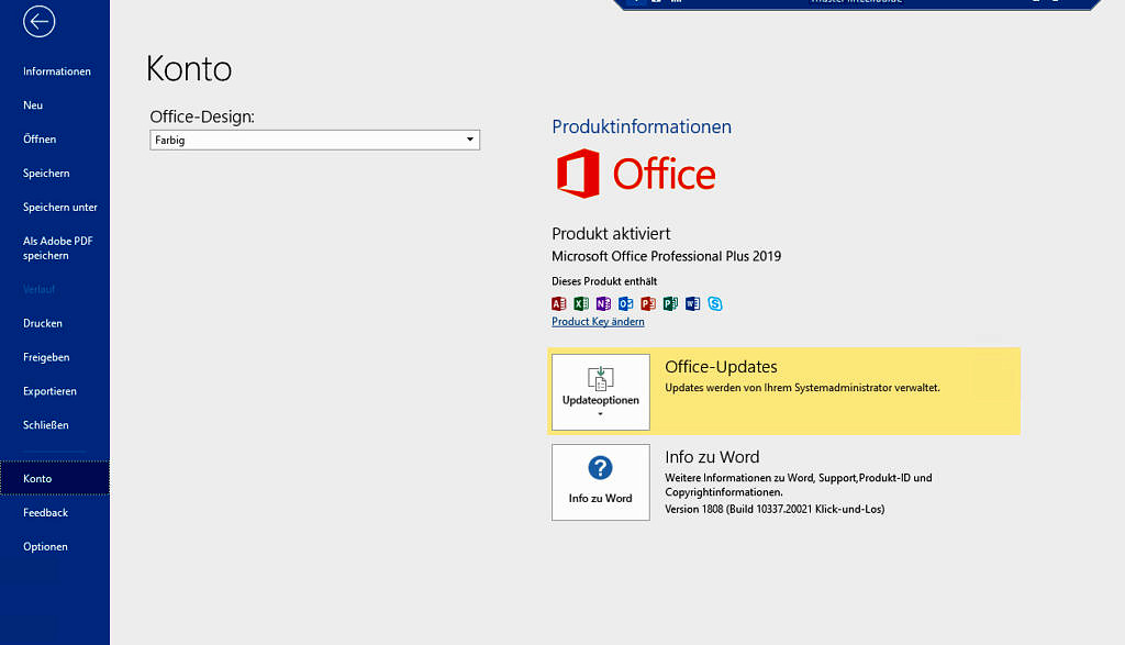 Screenshot: Kontoeinstellungen in MS Office