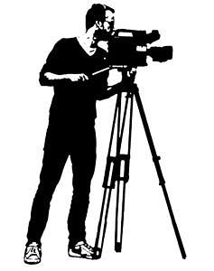 Abbildung eines Kammeramannes der etwas filmt