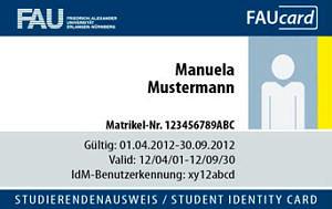 Abbildung der FAUcard von Frau Mustermann