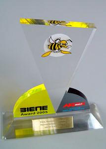 Foto der Auszeichnung goldener BIENE-Award