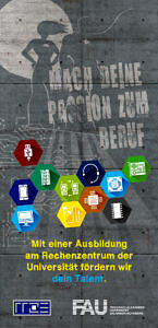 Deckblatt Info-Flyer zur Fachinformatikerausbildung am RRZE