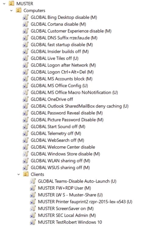 Screenshot eines Musters für Gruppenrichtlinien, die vom RRZE vorkonfiguriert werden.