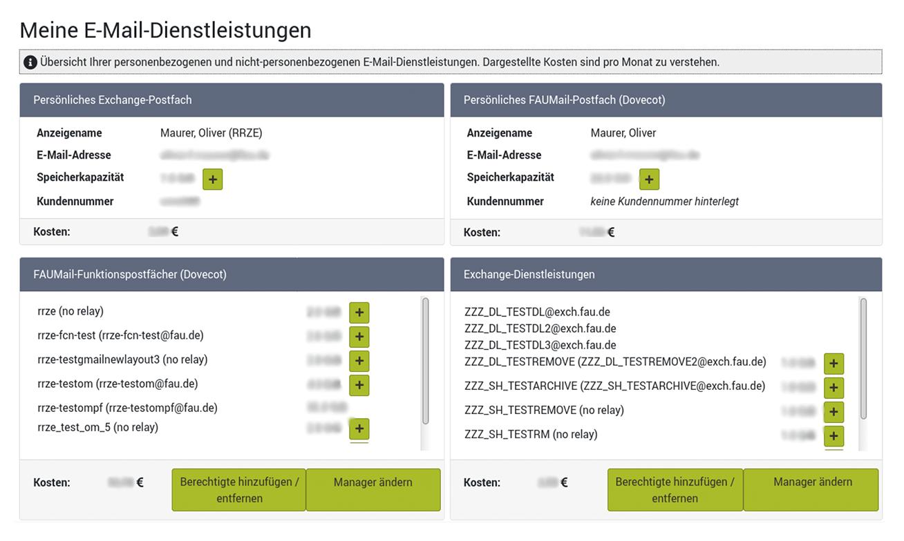 Screenshot der Startseite des E-Mail-Administrationsbereichs, auf der alle E-Mail-Dienstleistungen wie auf einen Blick zu sehen sind.