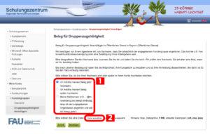 Screenshot, der zeigt, wo Sie einen Beleg für Ihre Gruppenzugehörigkeit hinzufügen
