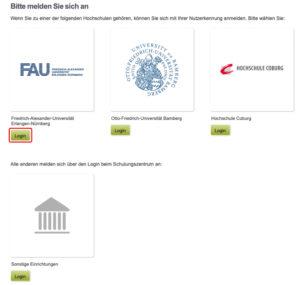 Auswahlmoeglichkeit für die Anmeldung im Konto